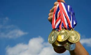 sportsmind, god eller foran, medaljer